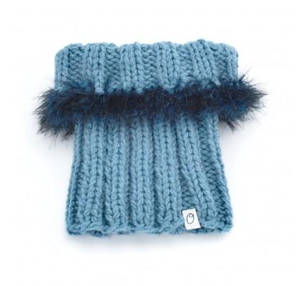 Colsjaal blauw met fluffy-rand