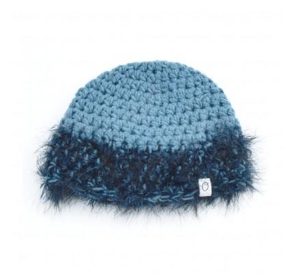 Muts blauw met fluffy-rand